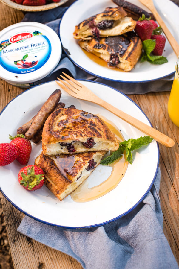easy camping breakfast stuffed french toast
