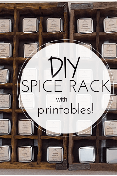 DIY Spice Rack with Printables: This DIY project is simple and SO pretty! We used old Coca-Cola crates for the rack. Apothecary style labels are mod podged onto tins for an adorable spice rack!