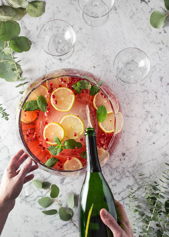 Pomegranate Champagne Punch, 101 New Years Food Ideas
