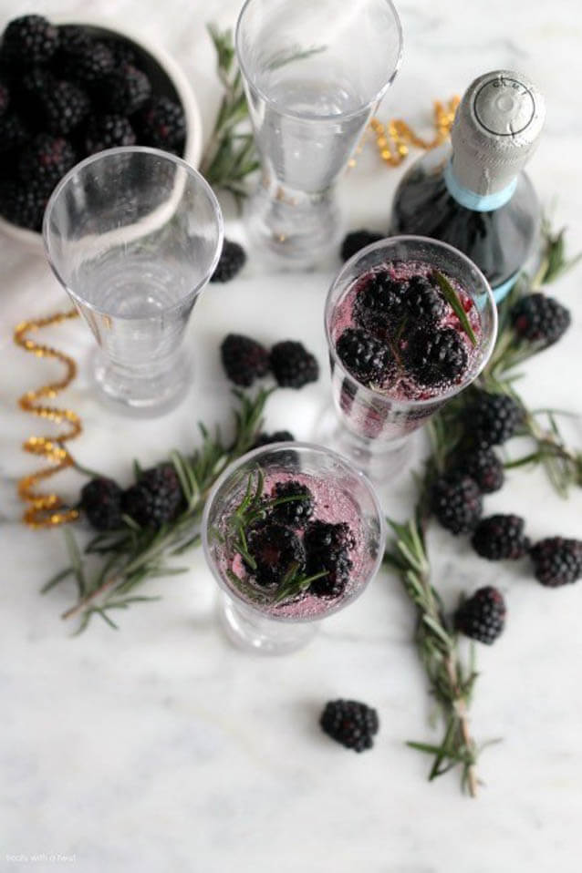Blackberry Rosemary Sparkling Cocktail, 101 New Years Food Ideas