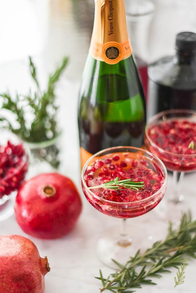 pomegranate rosemary sparkles, 101 New Years Food Ideas