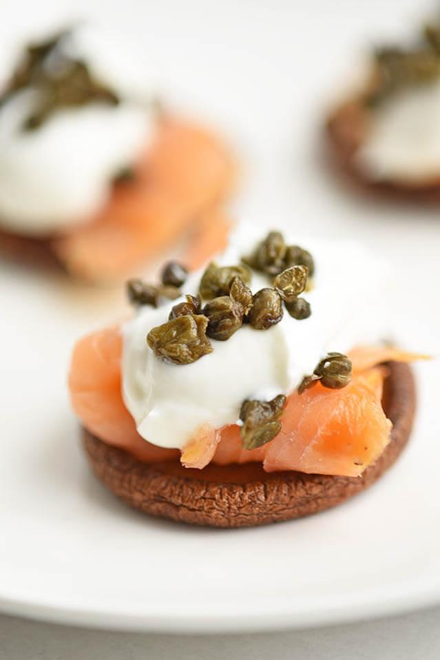 Crispy Mushroom Caps and Lox, 101 New Years Food Ideas