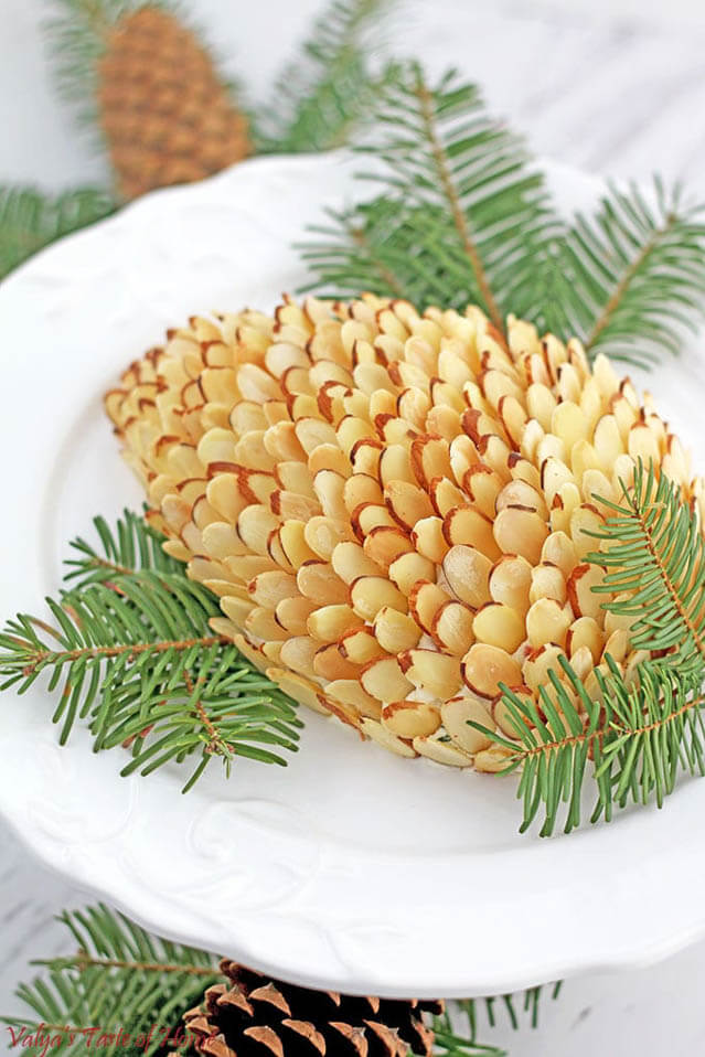 Pinecone Cheese Spread Appetizer, 101 New Years Food Ideas