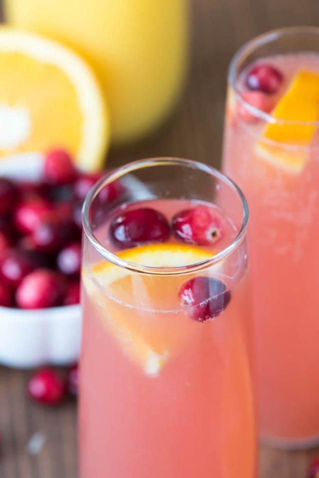 cranberry-orange-mimosa-bellini, 101 New Years Food Ideas