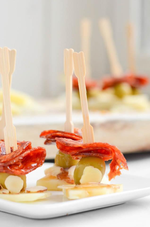 Chorizo Manchego Olive Skewers, 101 New Years Food Ideas