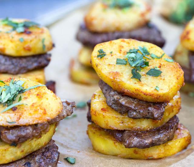 Steak and Potato Stacks, 101 New Years Food Ideas