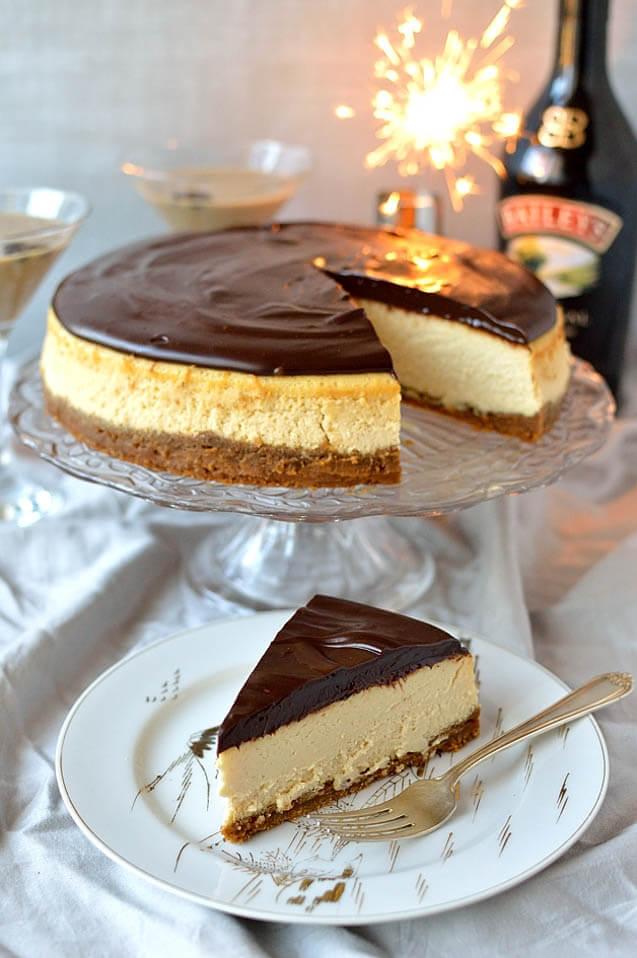 Baileys Cheesecake with Baileys Ganache, 101 New Years Food Ideas