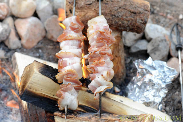 campfire bacon, 101 Stress Free Camping Food Ideas