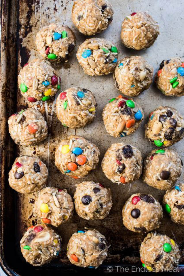 healthy trail mix protein bites, 101 Stress Free Camping Food Ideas