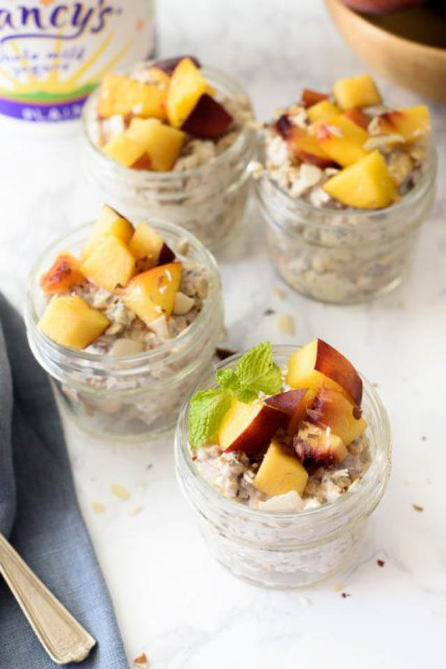 peach chia overnight oats, 101 Stress Free Camping Food Ideas