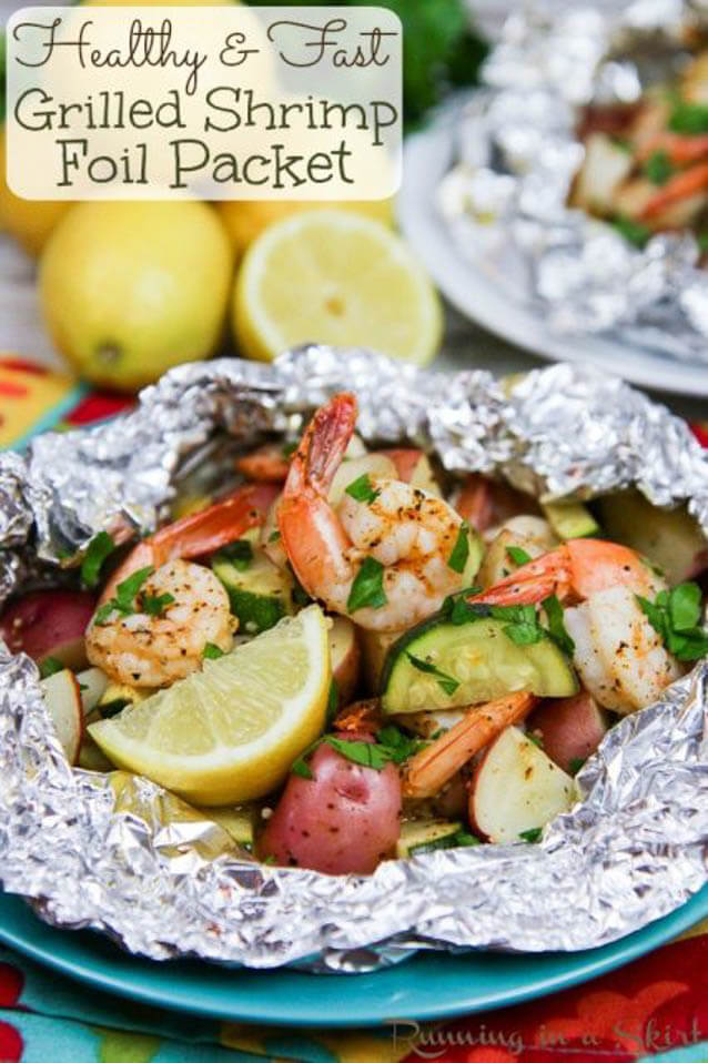 healthy grilled shrimp in foil recipe, 101 Stress Free Camping Food Ideas