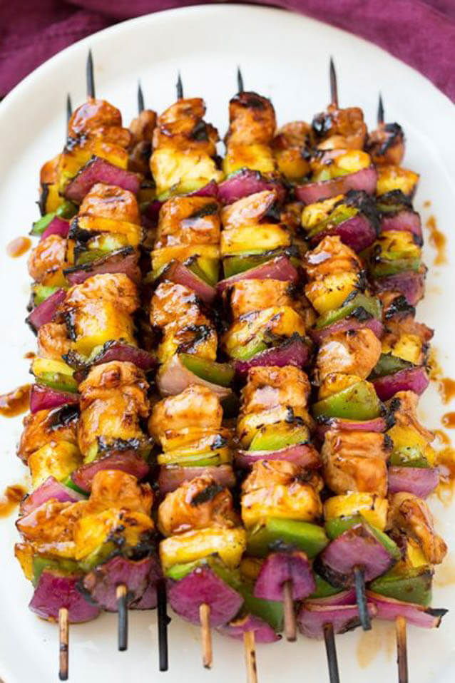 Hawaiian chicken kebabs,101 Stress Free Camping Food Ideas