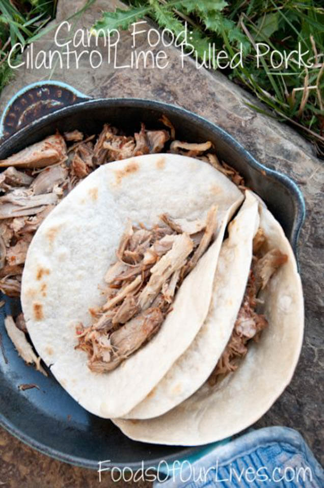 camp food cilantro lime pulled pork tacos, 101 Stress Free Camping Food Ideas
