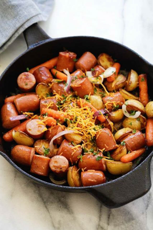 skillet sausage and potatoes, 101 Stress Free Camping Food Ideas