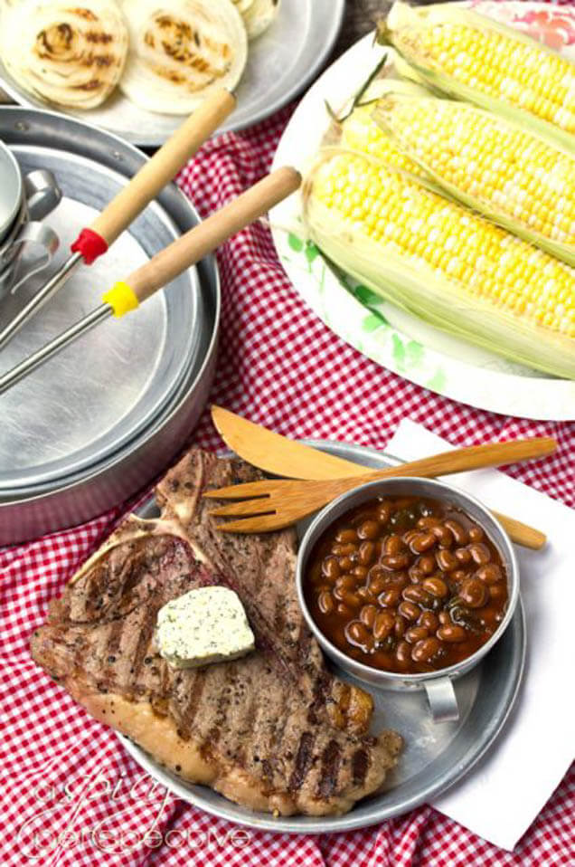 campfire porterhouse steaks with compound butter, 101 Stress Free Camping Food Ideas