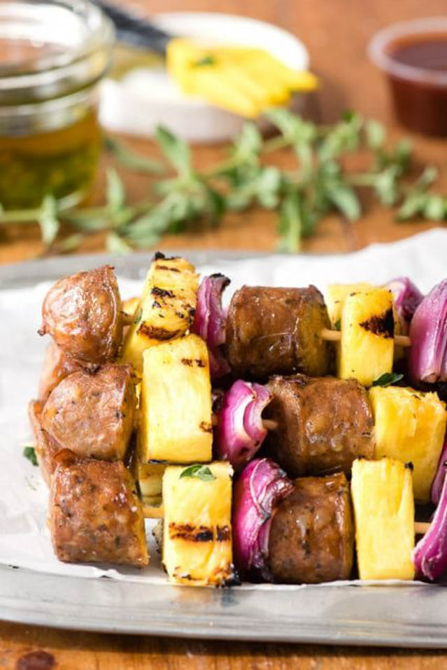 grilled cheesy sausage pineapple skewers, 101 Stress Free Camping Food Ideas