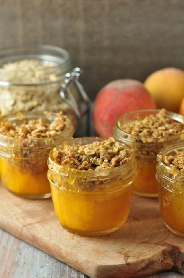 mason jar peach crisp, 101 Stress Free Camping Food Ideas