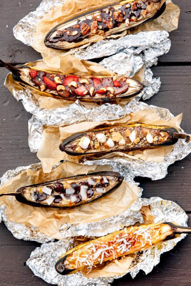 grilled banana boasts, 101 Stress Free Camping Food Ideas