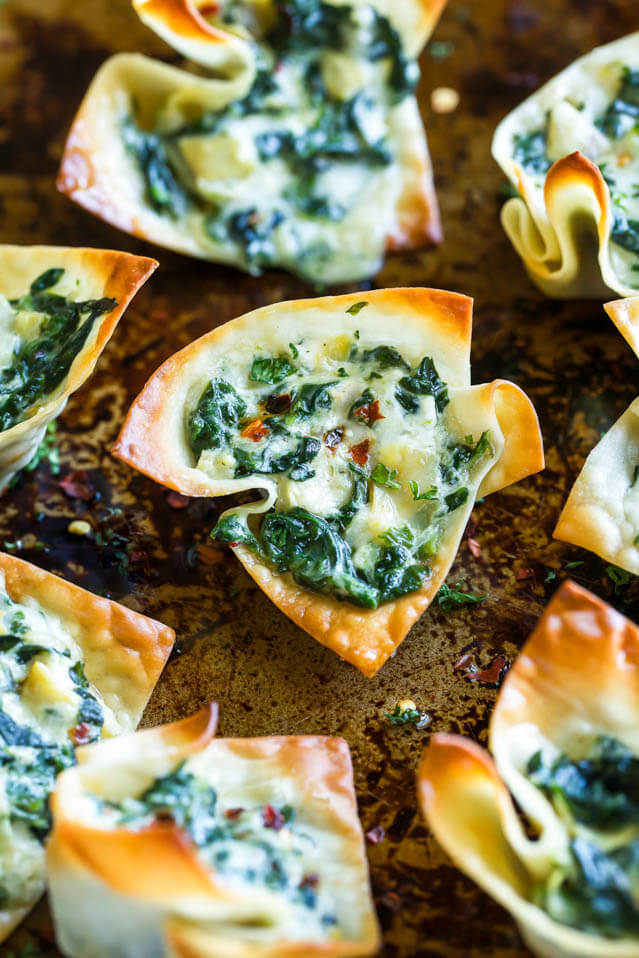 baked spinach artichoke won ton cups