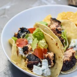 balsamic salmon burger tacos with tazk