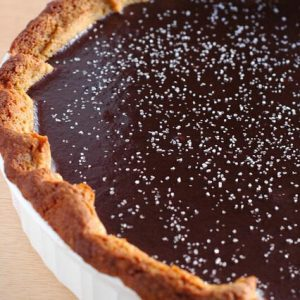 Salted Dark Chocolate Caramel Tart