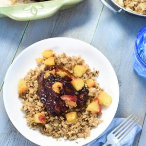 Grilled BBQ Peach Chicken with Cauliflower Rice