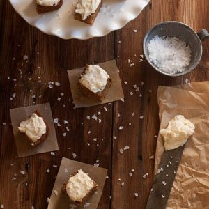 Sweet Potato Bars with Salted Vanilla Bean Cream Cheese Frosting