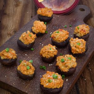 Hummus Stuffed Mushrooms