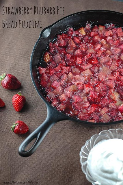 strawberry rhubarb pie bread pudding