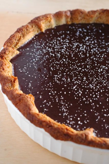 salted dark chocolate caramel tart