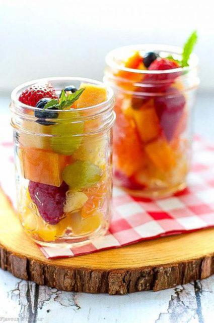Mason Jar Boozy Tropical Fruit Salad