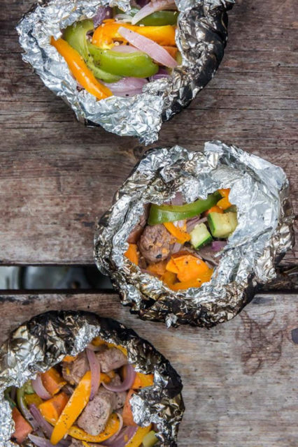Campfire Steak Potatoes and Peppers Foil Packets