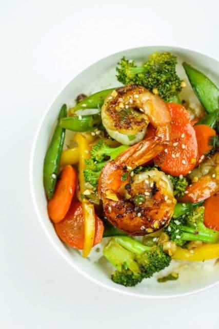 Honey Sriracha Shrimp Veggie Stir Fry Recipe