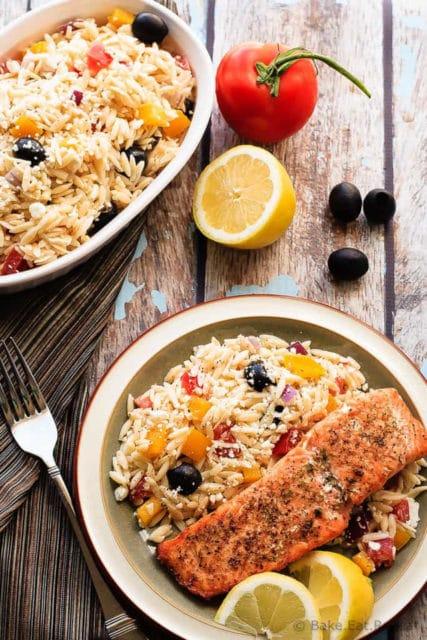 Crispy Salmon Greek Orzo Recipe