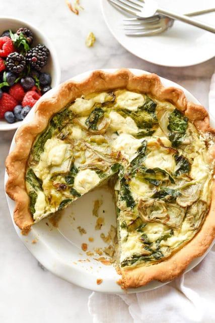 Spinach Artichoke Goat Cheese Quiche Recipe