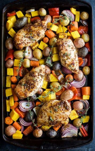 Sheet Pan Mustard Chicken Vegetables Recipe