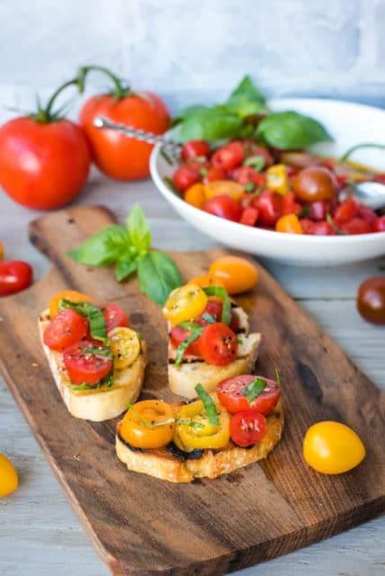 Fresh Cherry Tomato and Basil Bruschetta