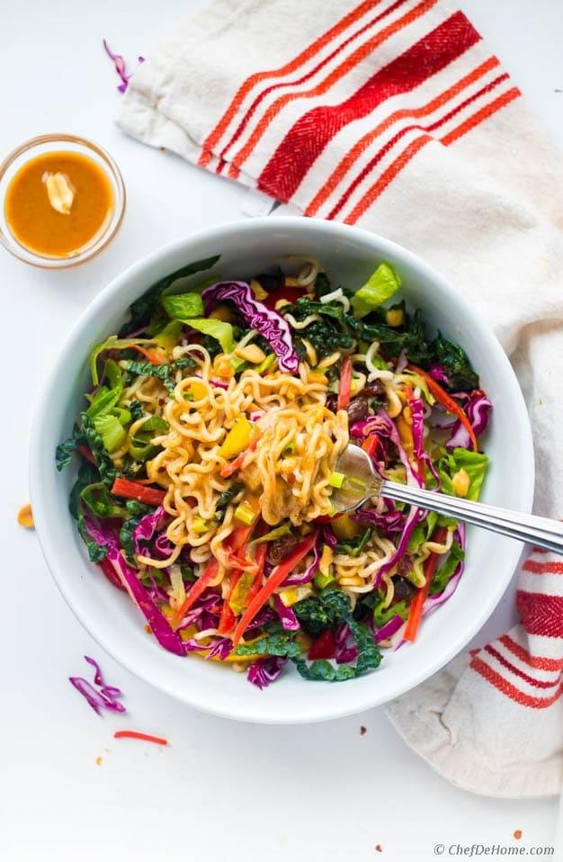 Ramen Noodle Salad Miso Peanut Dressing, 52 Ramen Recipes to Keep You Warm