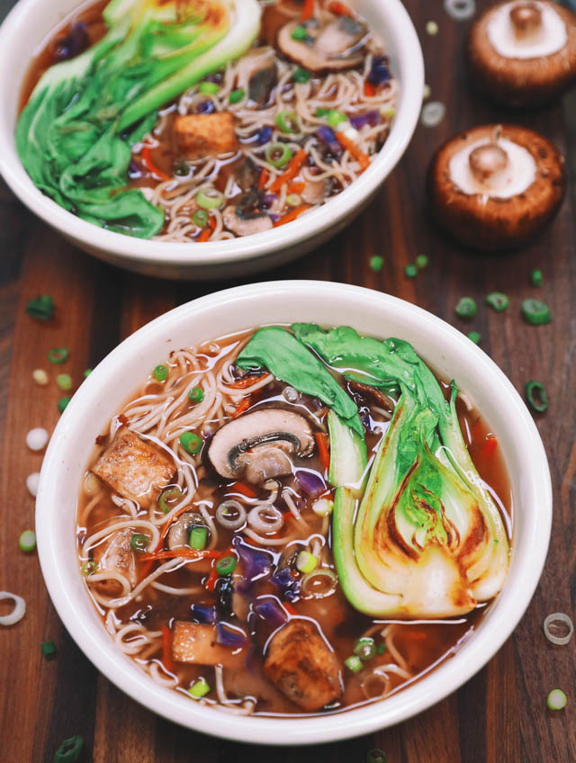 Miso Ramen Veggie Packed Soup with Tofu and Bok Choy, Ramen Recipes