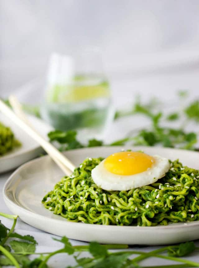 Ramen Noodles Miso Pesto with Fried Egg, 52 Ramen Recipes to Keep You Warm