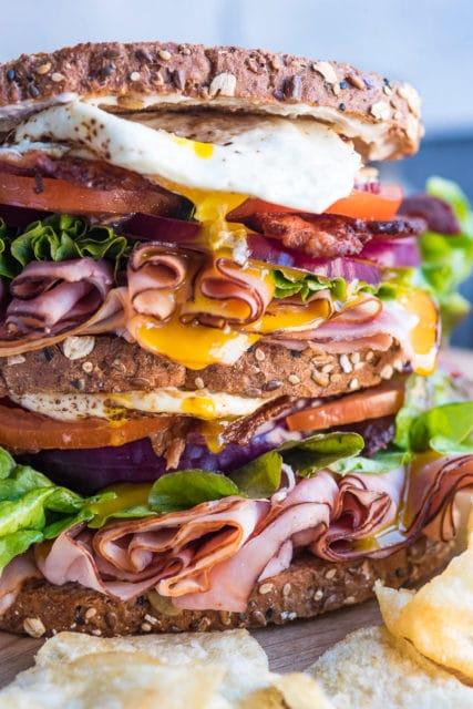 club sandwich with a fried egg