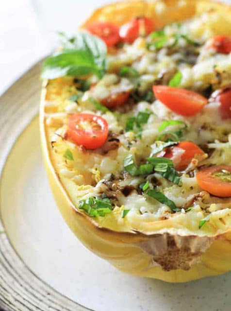 Healthy Filling Caprese Stuffed Spaghetti Squash Recipe