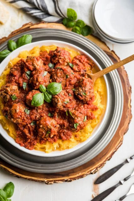 Instant Pot Spaghetti Squash with Easy Meatballs Recipe
