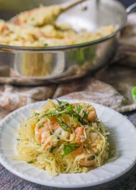 Shrimp Basil Spaghetti Squash Recipe