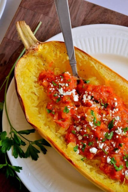Spaghetti Squash with Roasted Garlic Cherry Tomato Sauce Recipe