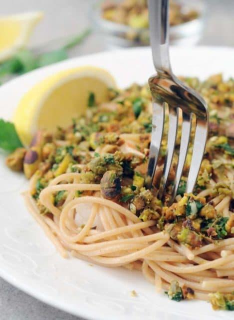 pistachio caper gremolata pasta with shrimp