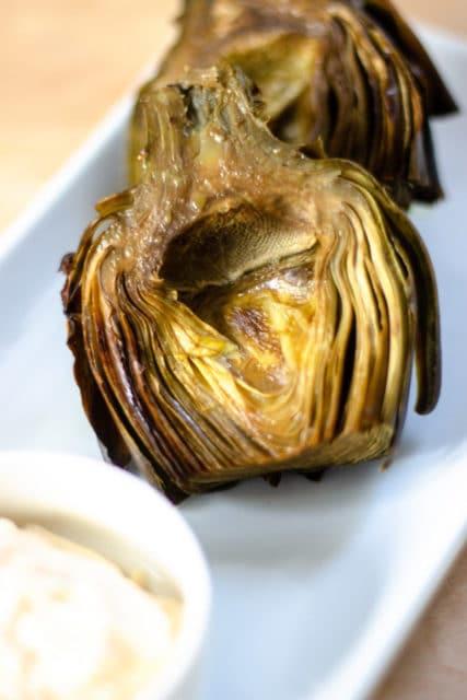 roasted lemon garlic artichokes
