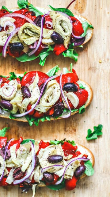 Italian Antipasto Vegetarian Sandwich