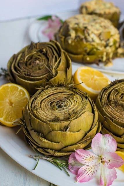 Lemon and Herb White Wine Artichokes