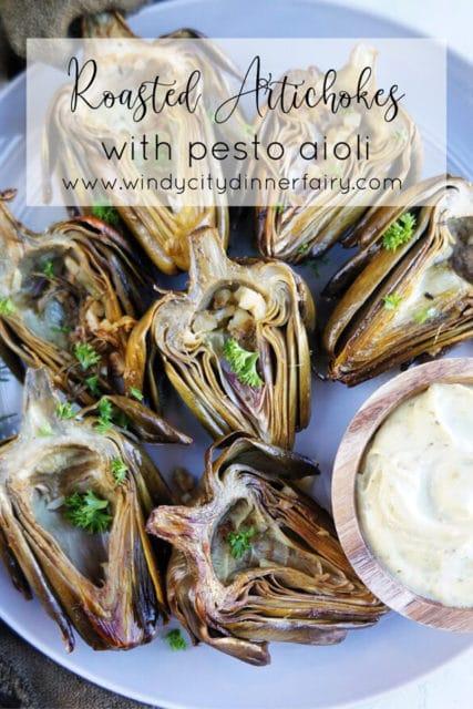 roasted artichokes with pesto aioli